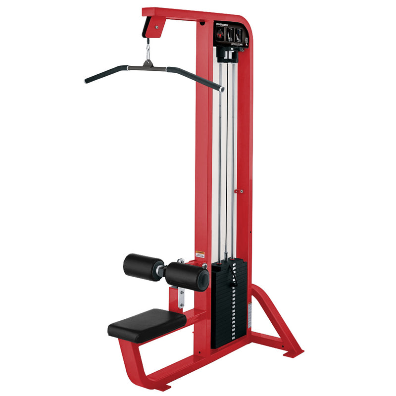 Hammer Strength Select Lat Pulldown in red with black leather.