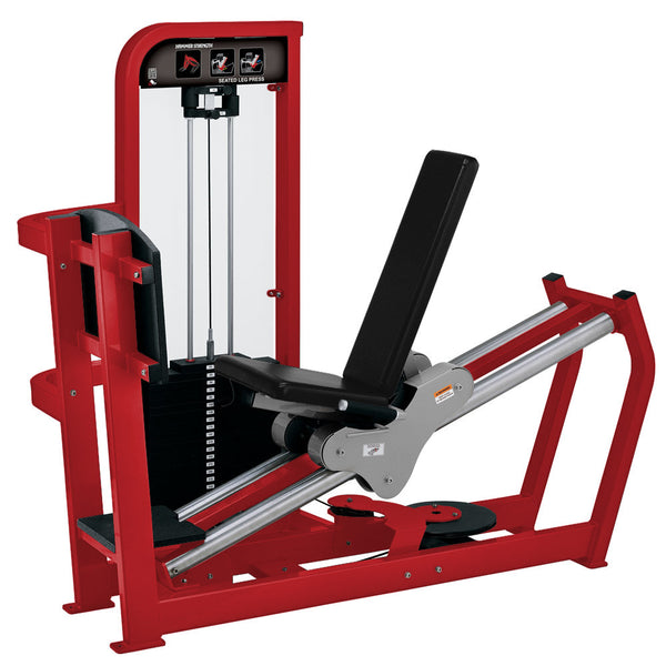 Hammer Strength Select Seated Leg Press in red with black leather.