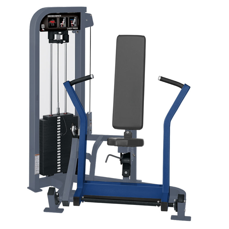 Hammer Strength Select Chest Press in ice blue metallic and blue.