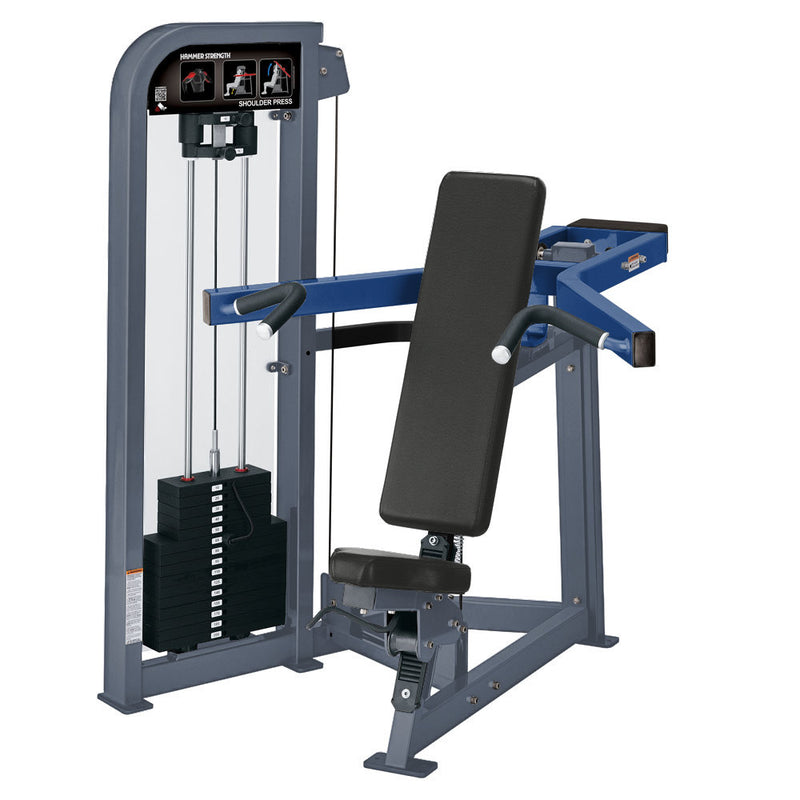 Hammer Strength Select Shoulder Press in ice blue metallic and blue.