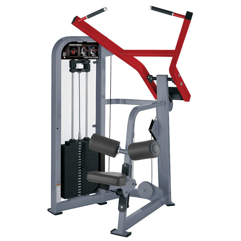 Hammer Strength Select Fixed Pulldown in ice blue metallic and red.