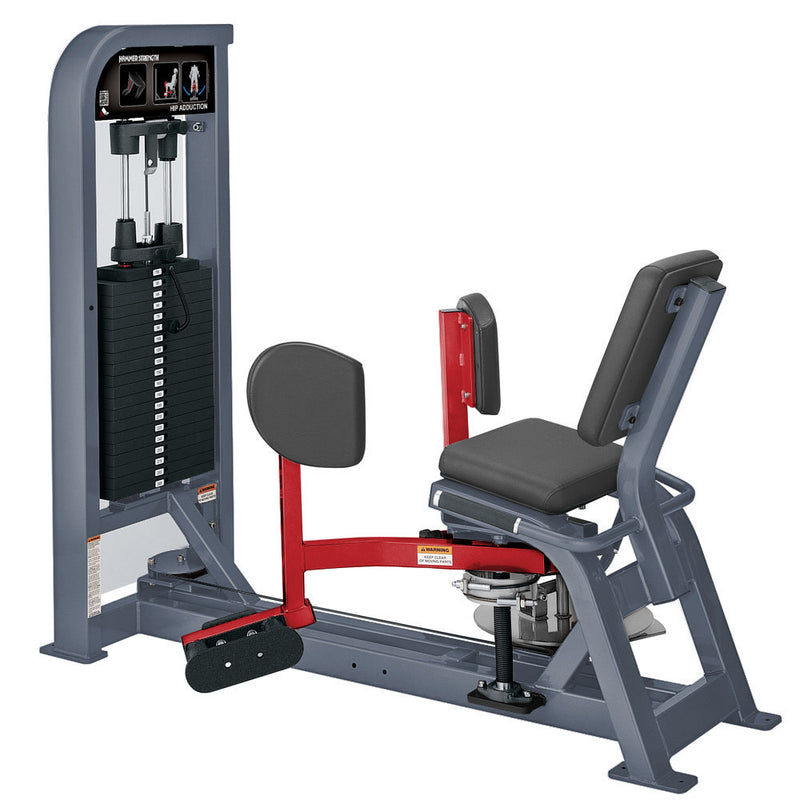 Hammer Strength Select Hip Adduction in ice blue metallic and red.
