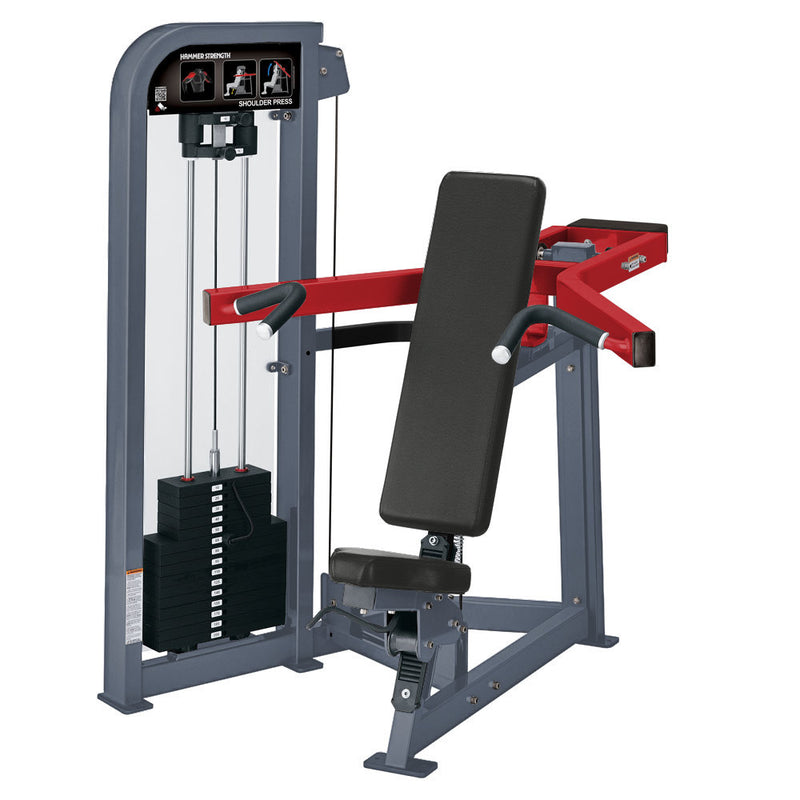 Hammer Strength Select Shoulder Press in ice blue metallic and red.