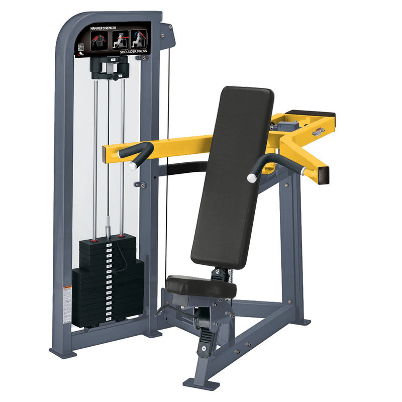 Hammer Strength Select Shoulder Press in ice blue metallic and yellow.