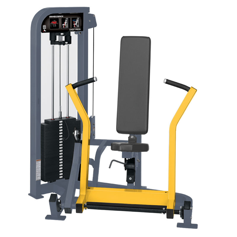 Hammer Strength Select Chest Press in ice blue metallic and yellow.