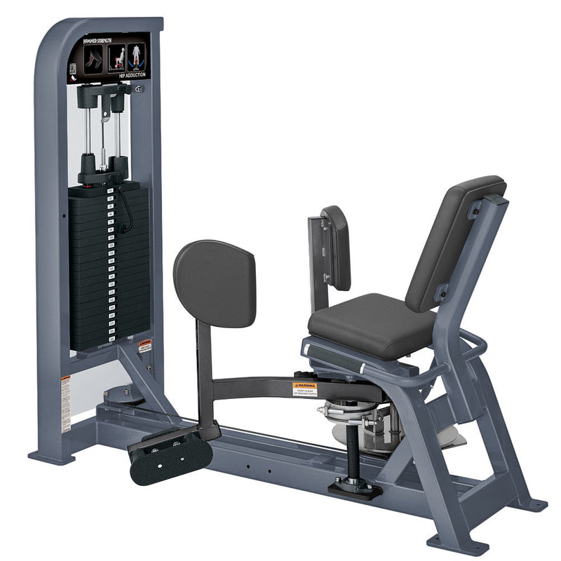 Hammer Strength Select Hip Adduction in ice blue metallic and titanium.