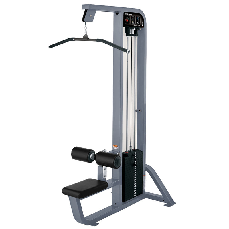 Hammer Strength Select Lat Pulldown in ice blue metallic with black leather.