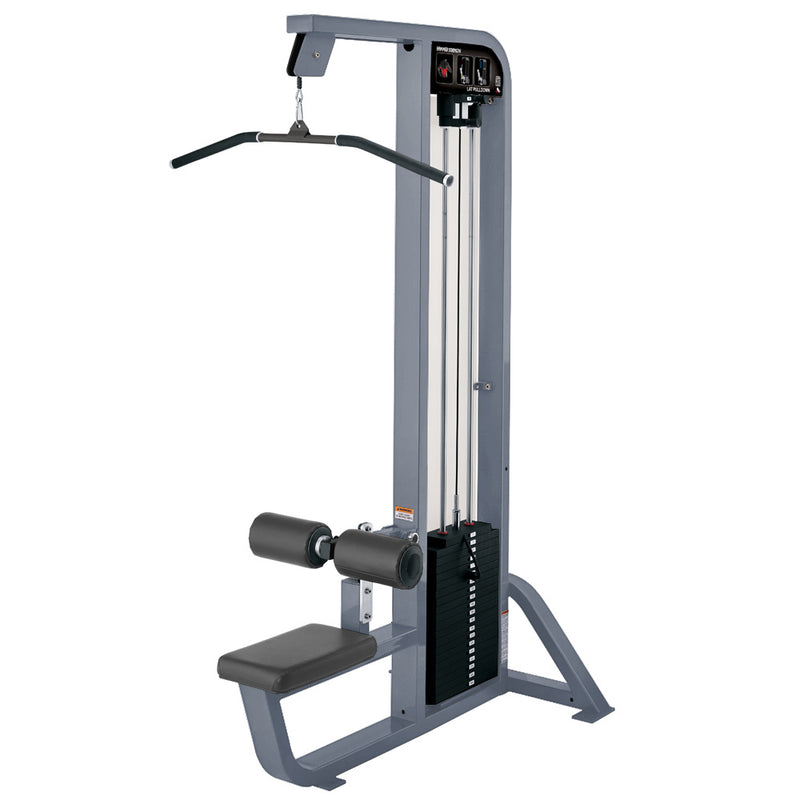 Hammer Strength Select Lat Pulldown in ice blue metallic with slate leather.