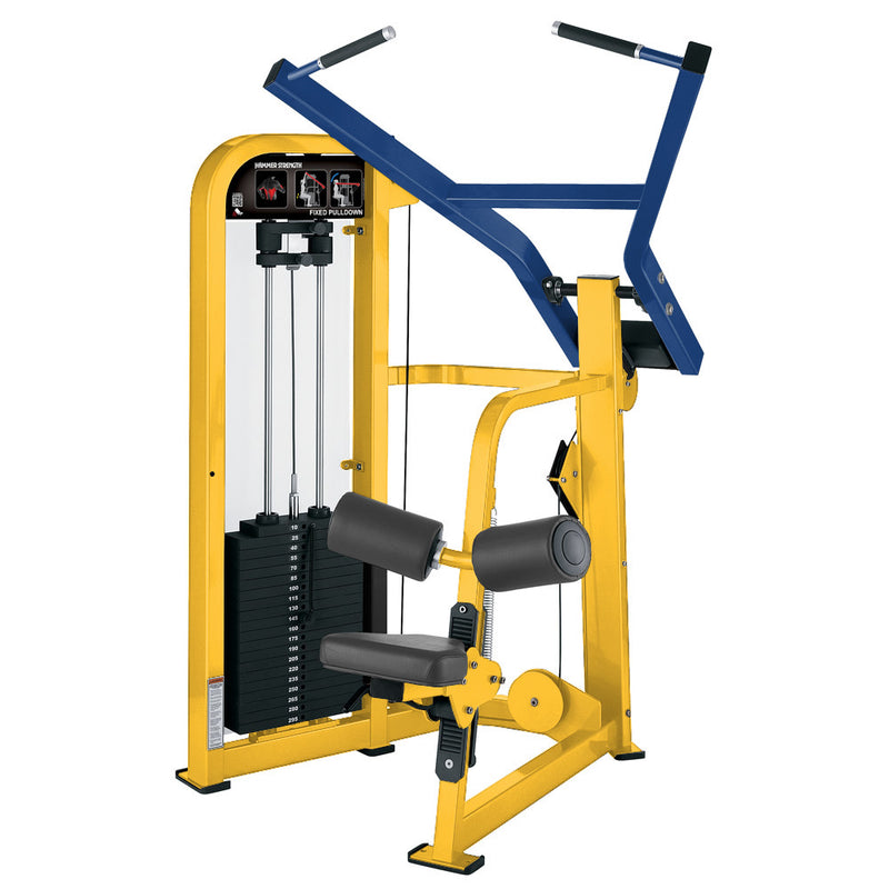 Hammer Strength Select Fixed Pulldown in yellow and blue.