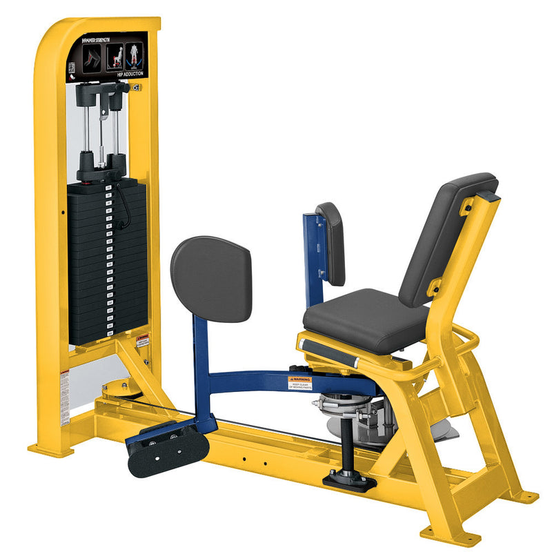Hammer Strength Select Hip Adduction in yellow and blue.