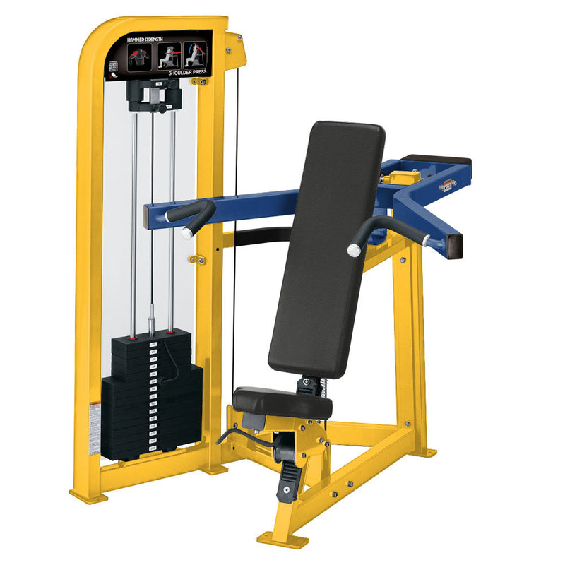 Hammer Strength Select Shoulder Press in yellow and blue.