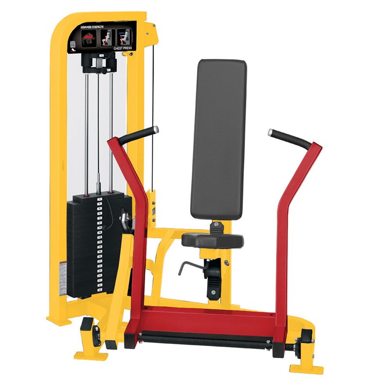 Hammer Strength Select Chest Press in yellow and red.