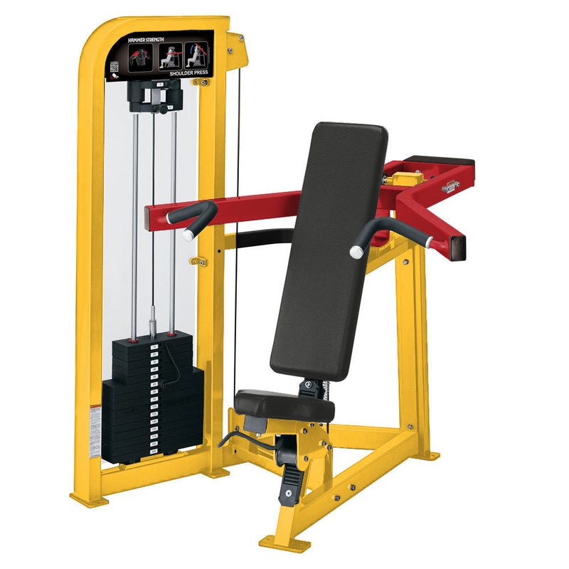 Hammer Strength Select Shoulder Press in yellow and red.