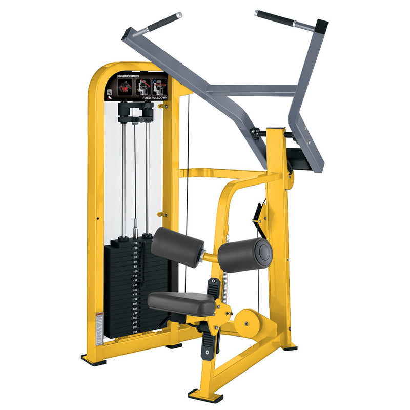 Hammer Strength Select Fixed Pulldown in yellow and ice blue metallic.