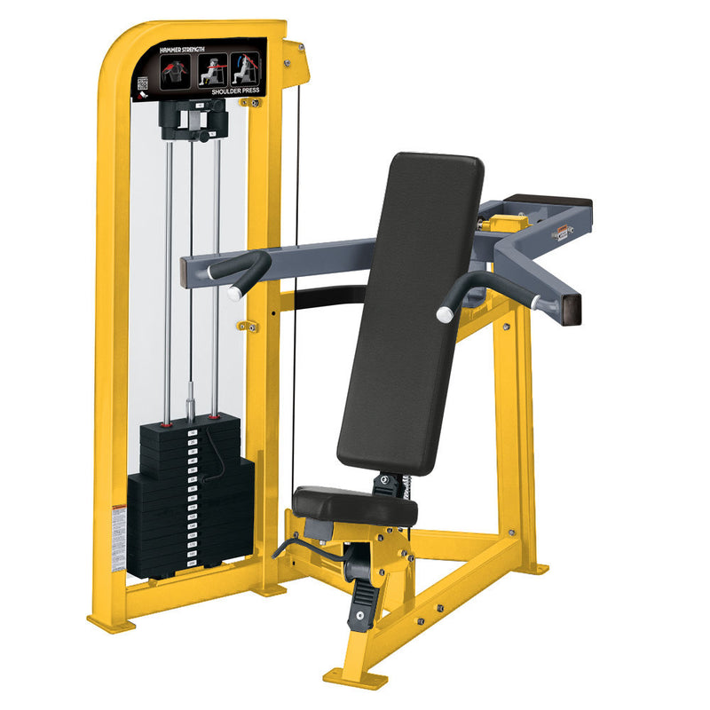 Hammer Strength Select Shoulder Press in yellow and ice blue metallic.