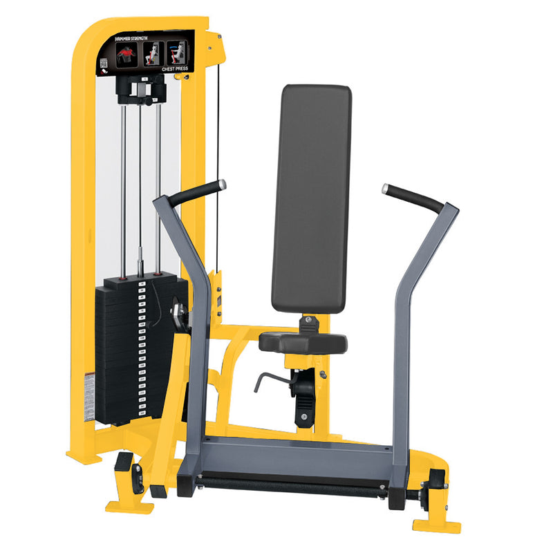 Hammer Strength Select Chest Press in yellow and ice blue metallic.