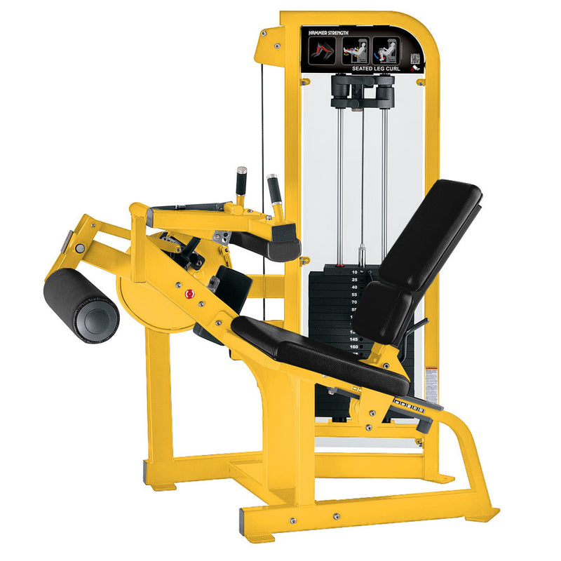 Hammer Strength Select Seated Leg Curl in yellow with black leather.