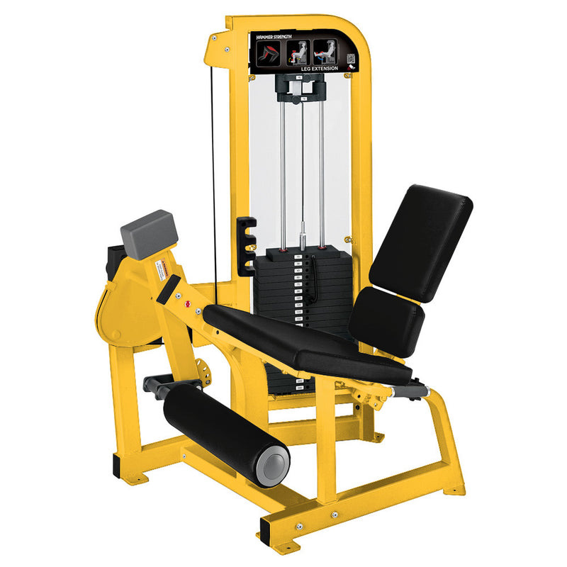 Hammer Strength Select Leg Extension in yellow with black leather.