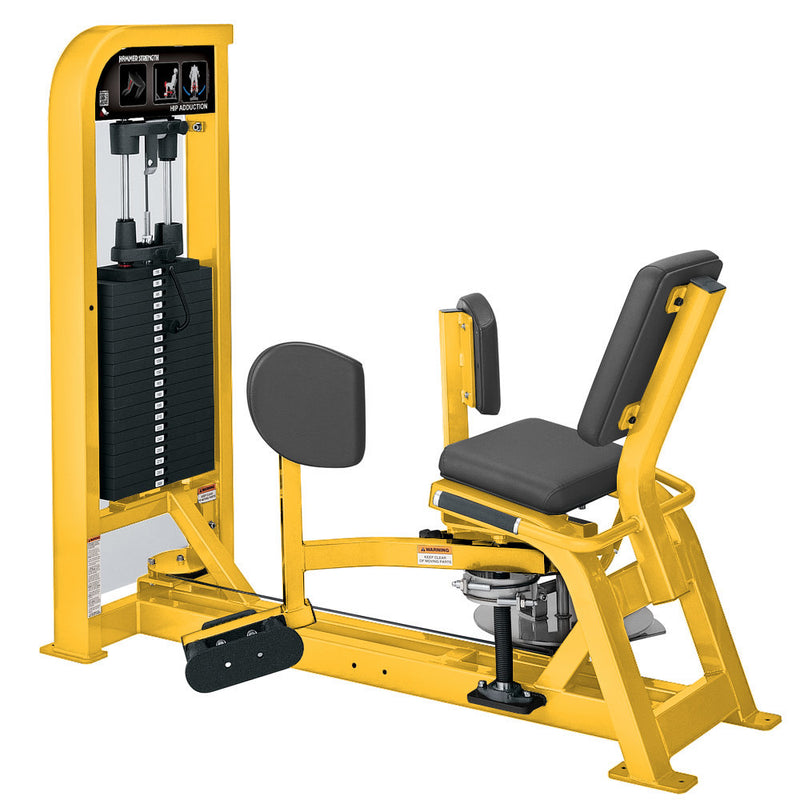 Hammer Strength Select Hip Adduction in all yellow.