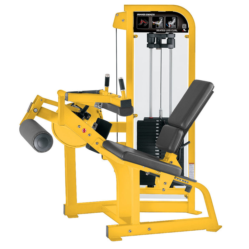 Hammer Strength Select Seated Leg Curl in yellow with slate leather.