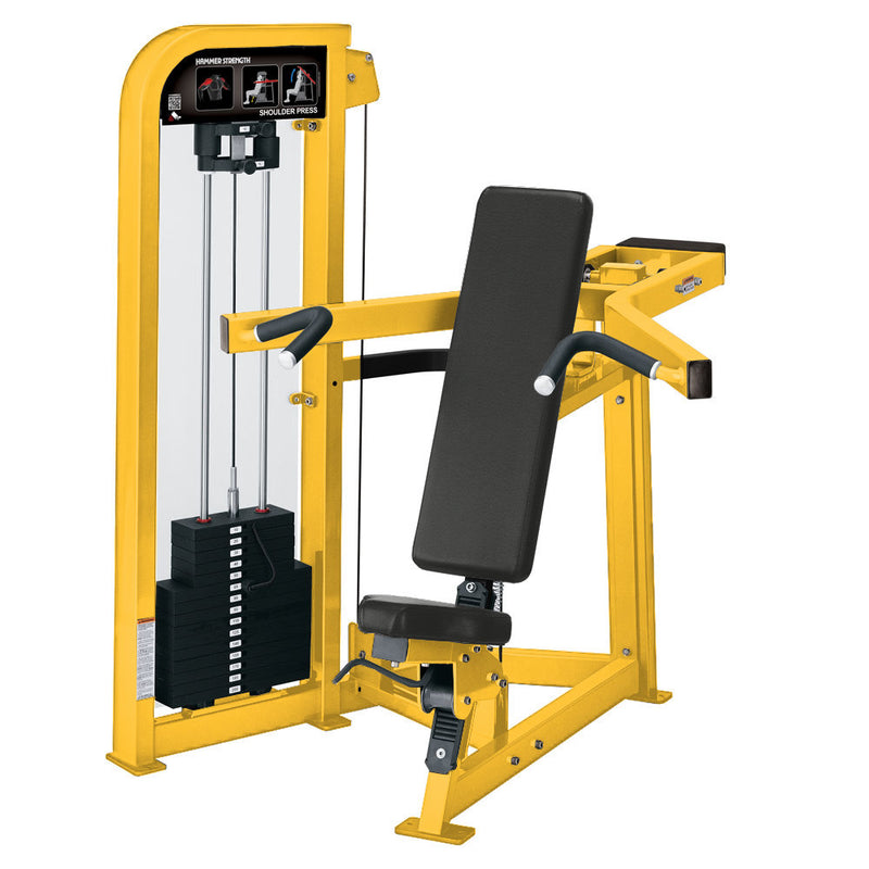 Hammer Strength Select Shoulder Press in all yellow.