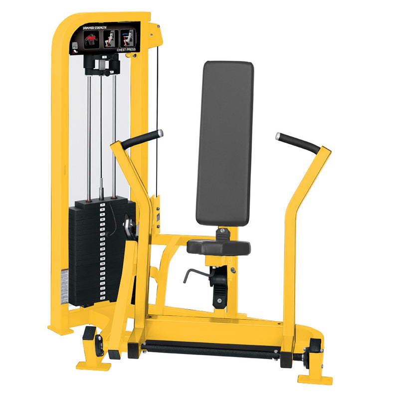 Hammer Strength Select Chest Press in all yellow.