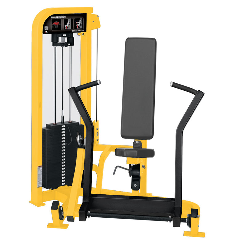 Hammer Strength Select Chest Press in yellow and black.