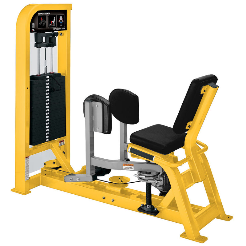 Hammer Strength Select Hip Abduction in yellow and platinum.