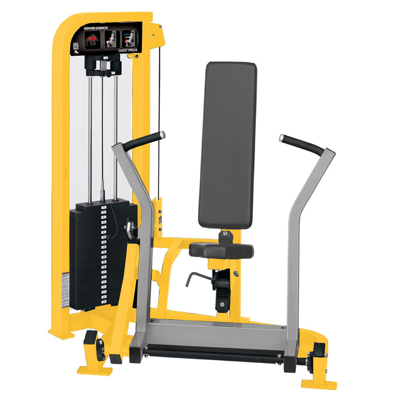 Hammer Strength Select Chest Press in yellow and platinum.
