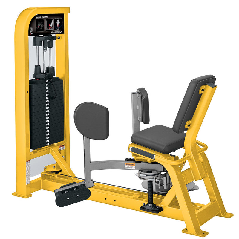 Hammer Strength Select Hip Adduction in yellow and platinum.