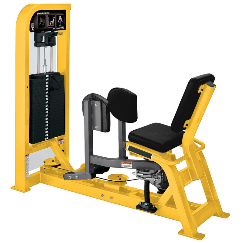 Hammer Strength Select Hip Abduction in yellow and titanium.