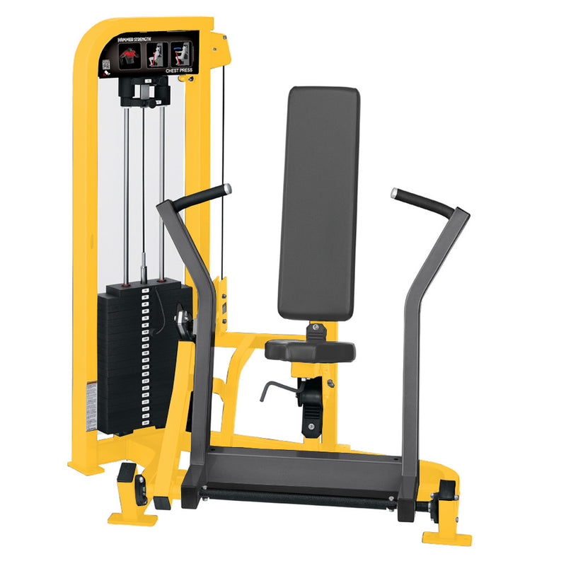Hammer Strength Select Chest Press in yellow and titanium.