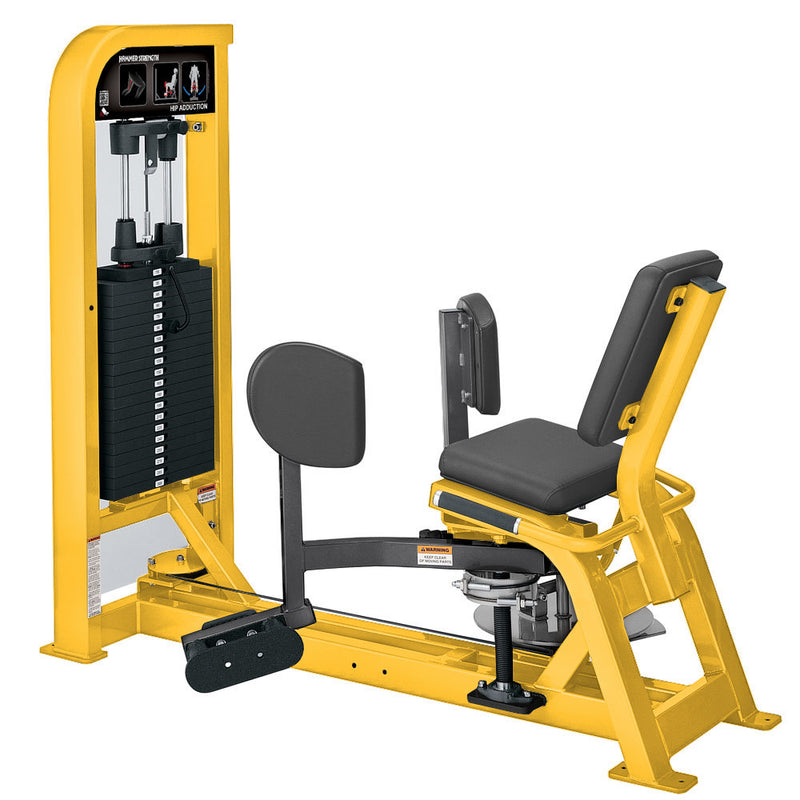 Hammer Strength Select Hip Adduction in yellow and titanium.