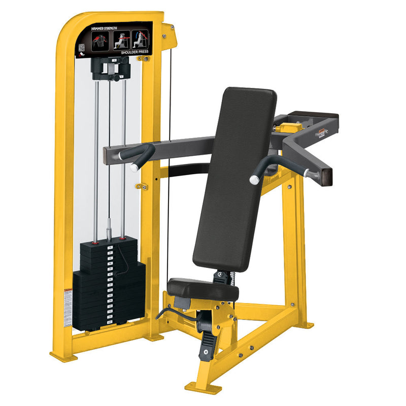 Hammer Strength Select Shoulder Press in yellow and titanium.