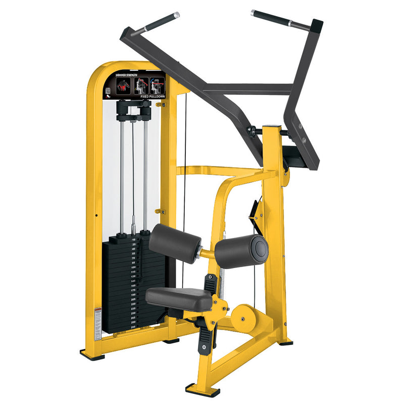 Hammer Strength Select Fixed Pulldown in yellow and titanium.