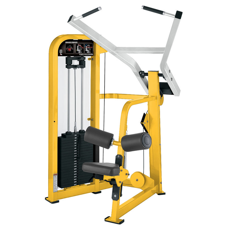 Hammer Strength Select Fixed Pulldown in yellow and white.