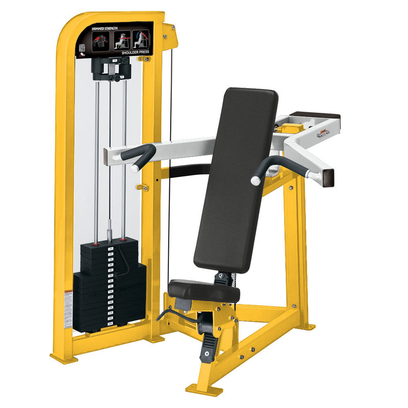 Hammer Strength Select Shoulder Press in yellow and white.
