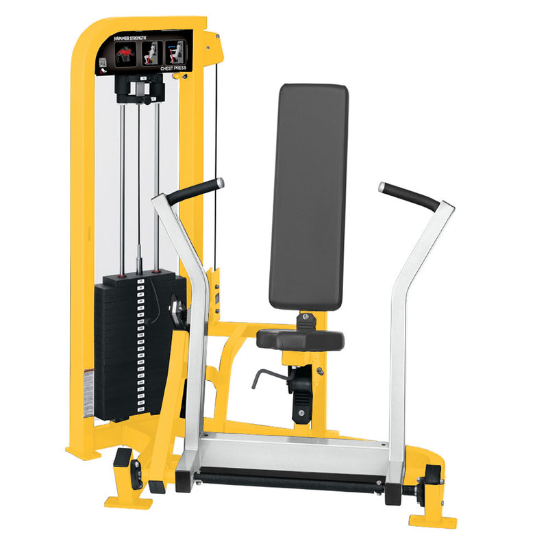 Hammer Strength Select Chest Press in yellow and white.