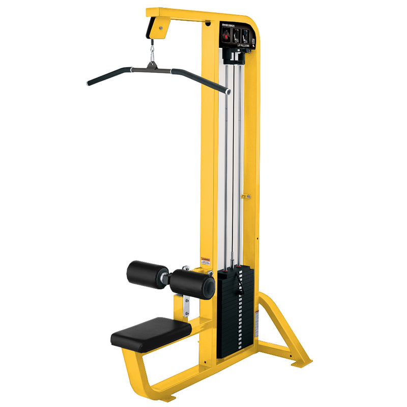 Hammer Strength Select Lat Pulldown in yellow with black leather.