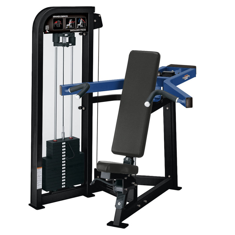 Hammer Strength Select Shoulder Press in black and blue.