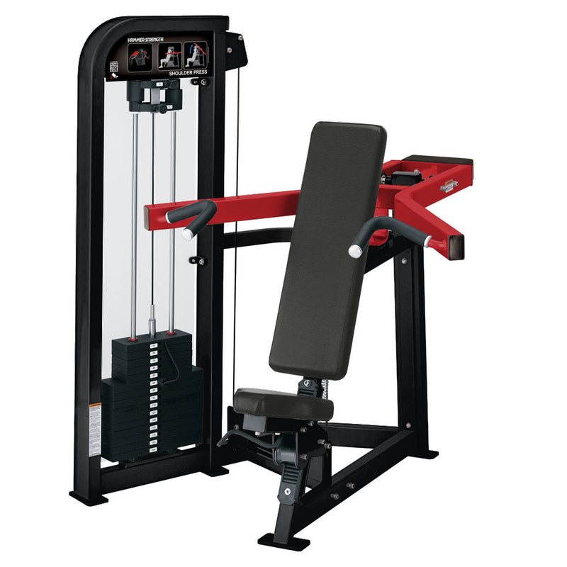 Hammer Strength Select Shoulder Press in black and red.