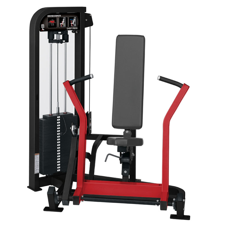Hammer Strength Select Chest Press in black and red.