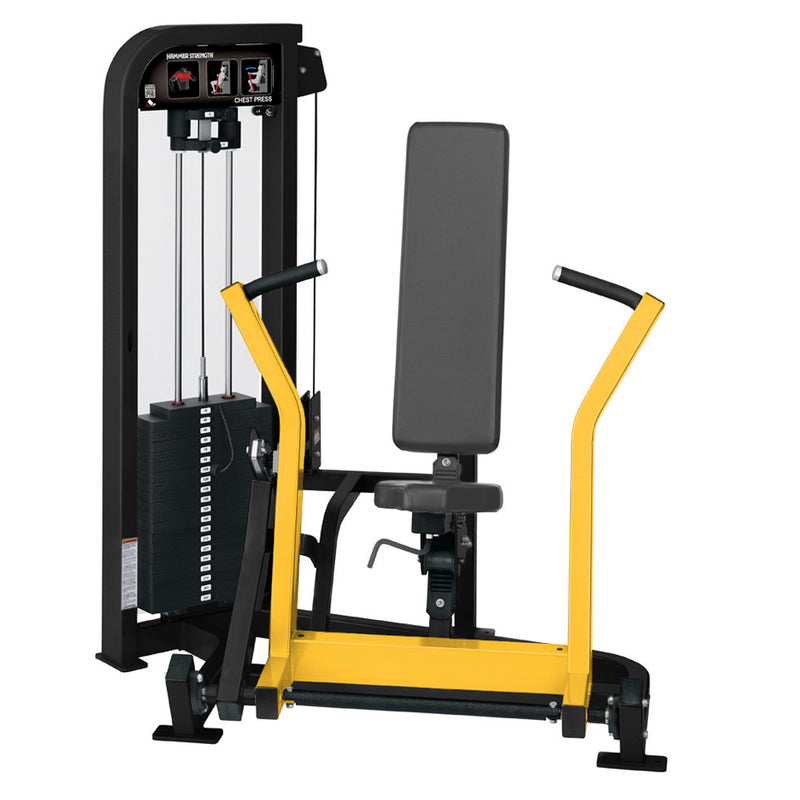 Hammer Strength Select Chest Press in black and yellow.