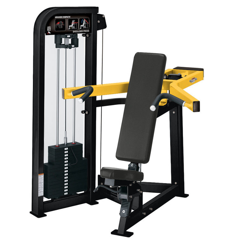 Hammer Strength Select Shoulder Press in black and yellow.