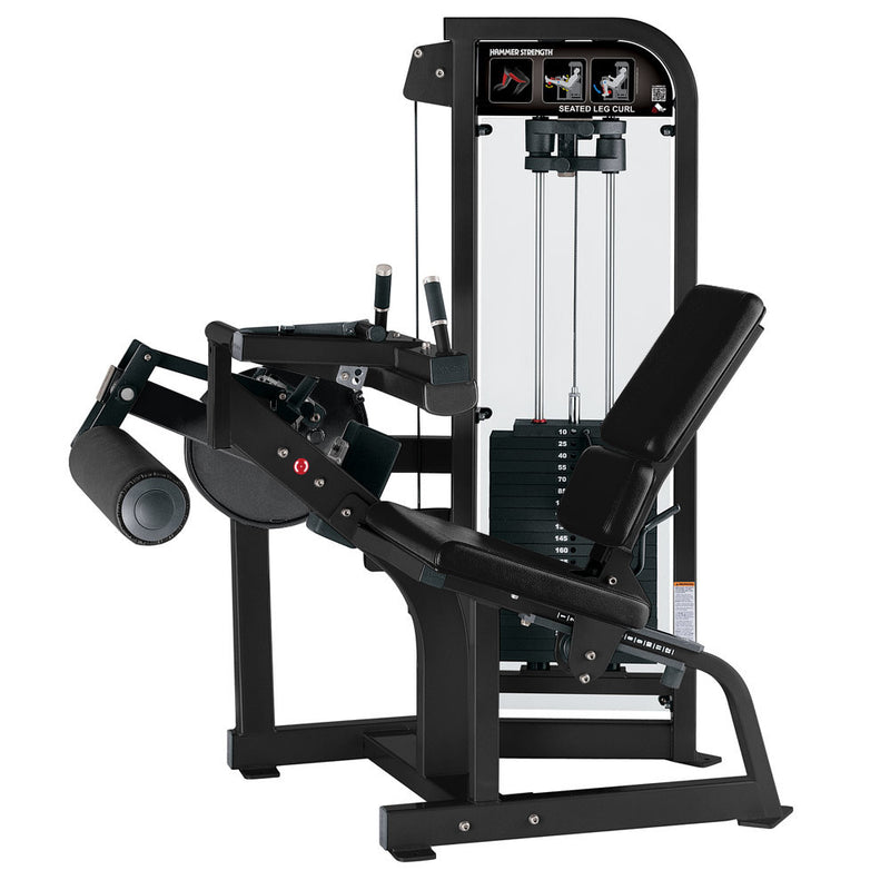 Hammer Strength Select Seated Leg Curl in black with black leather.