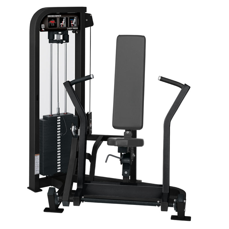 Hammer Strength Select Chest Press in all black.