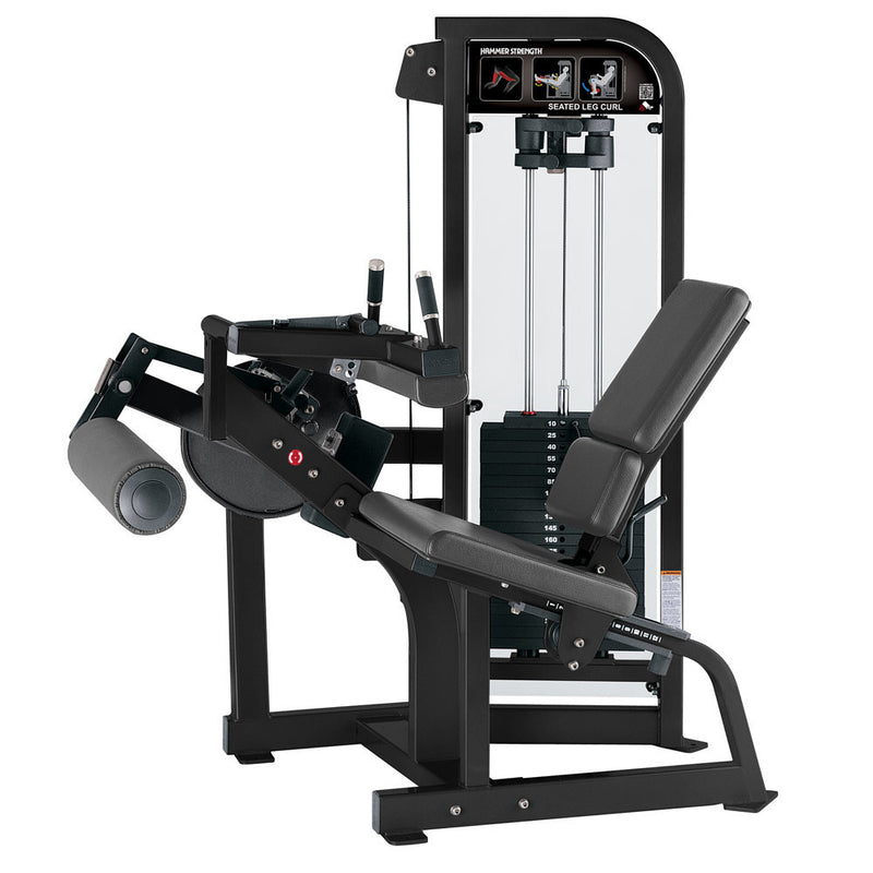 Hammer Strength Select Seated Leg Curl in black with slate leather.