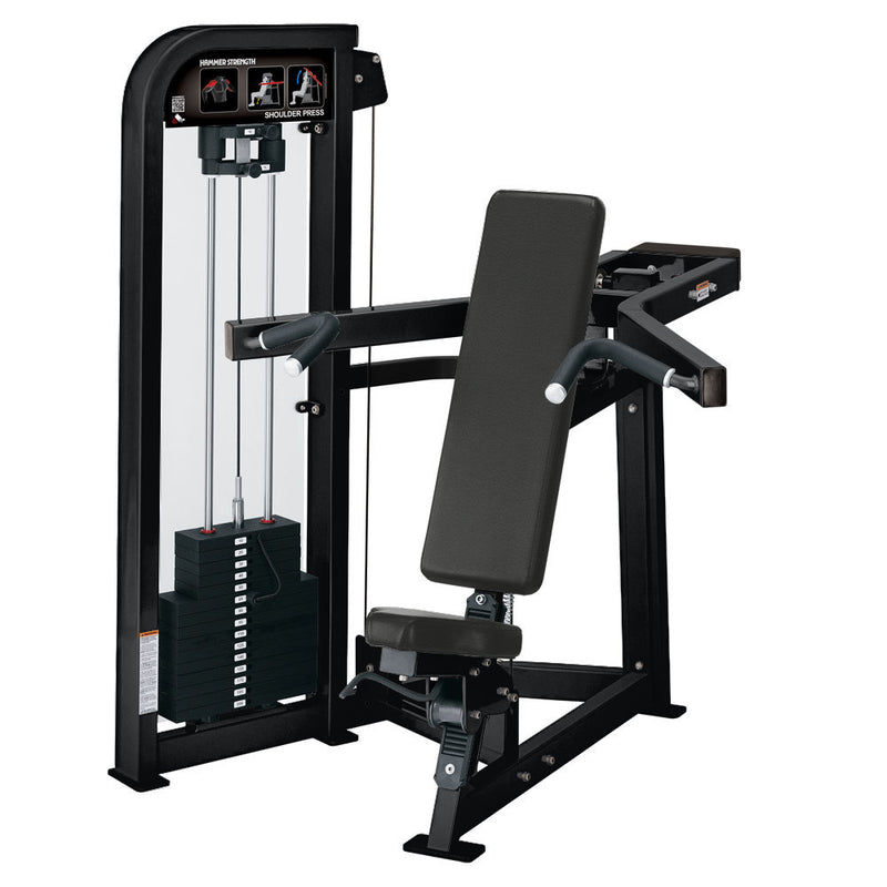 Hammer Strength Select Shoulder Press in all black.