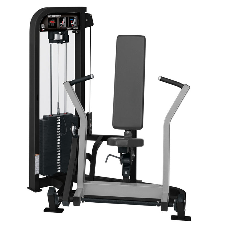 Hammer Strength Select Chest Press in black and platinum.