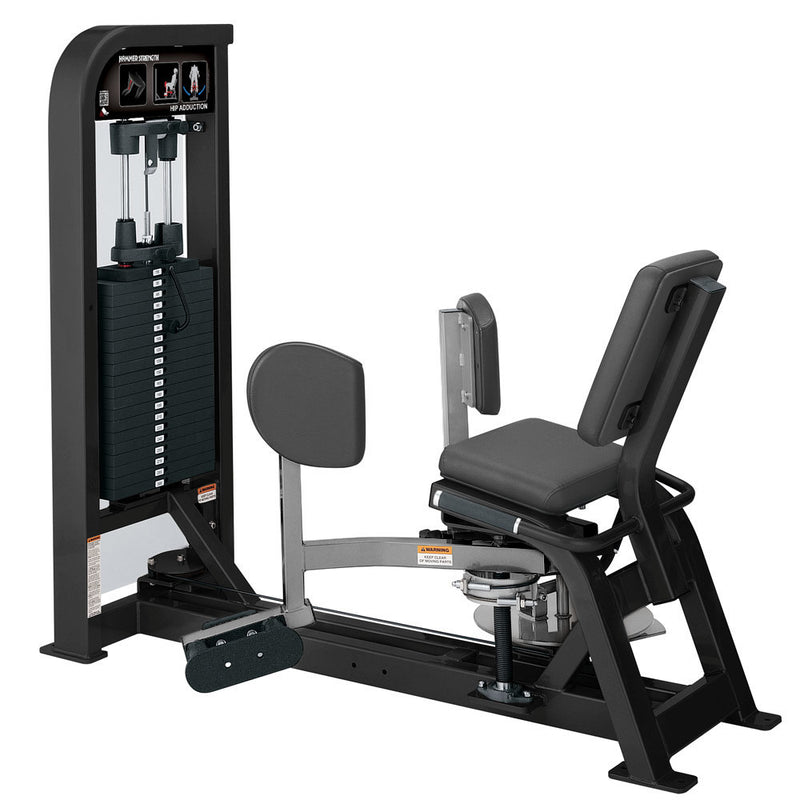 Hammer Strength Select Hip Adduction in black and platinum.